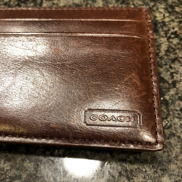 fc6d32caf8 🏈 COACH Men's Leather Money Clip Card Holder